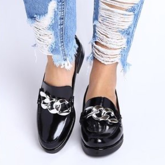 Jeffrey Campbell Adger Chain Loafers Black